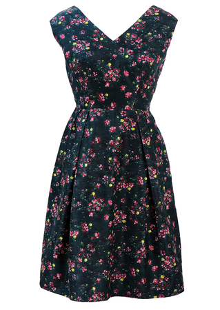 Vintage 50's Dark Green Knee Length Sleeveless Dress with Pink, Yellow & Blue Ditsy Floral Print - M