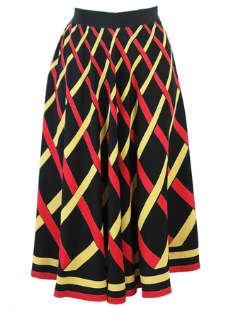 Vintage 50's Flared Black Midi Skirt with Red & Yellow Criss Cross Pattern - S