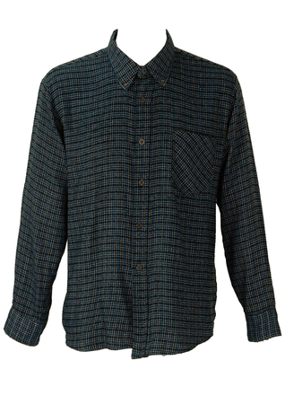 Blue Fine Check Flannel Shirt - L