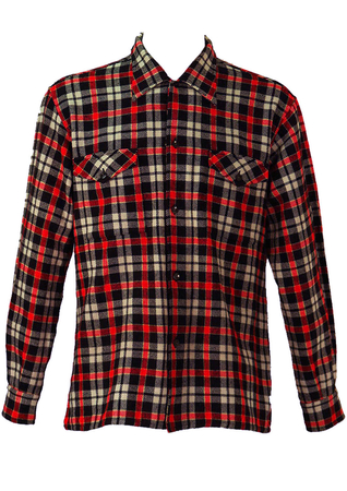 Bold Black, White and Red Tartan Check Flannel Shirt - L