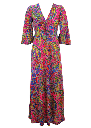 Maxi Dress with Vintage 70's Multicoloured Psychedelic Paisley Pattern & 3/4 Sleeves - XS/S