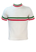 60's Style Short Sleeved Knit Top with Round Neck & Green & Red Stripe Detail - S/M