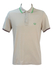 Fred Perry Special Edition Beige Polo Shirt with Green & Burgundy Stripes - L