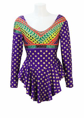 Purple Leotard Dress with Orange, Green, Black & Metallic Gold Floral Pattern - S