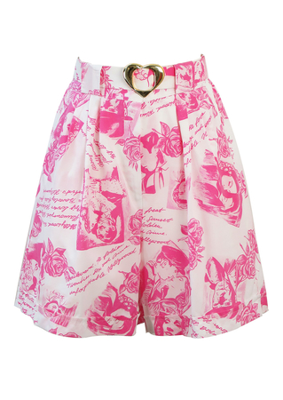 White Culotte Shorts with Pink Hollywood Themed Comic Pattern and Gold Heart Belt - S/M