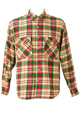 Vibrant Pink, Green and White Checked Flannel Shirt - L/XL