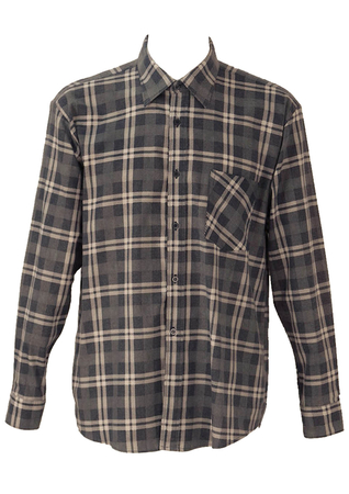 Blue, Grey and White Checked Flannel Shirt - L/XL