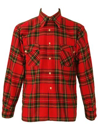 Classic Red Tartan Check Flannel Shirt - M/L