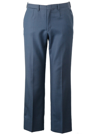 Blue Flat Front Tailored Trousers - W32""