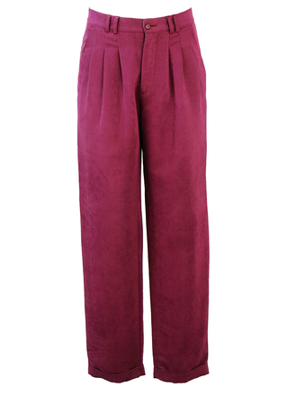 Maroon Pleat Front Tailored Trousers with Turn-ups - 32""