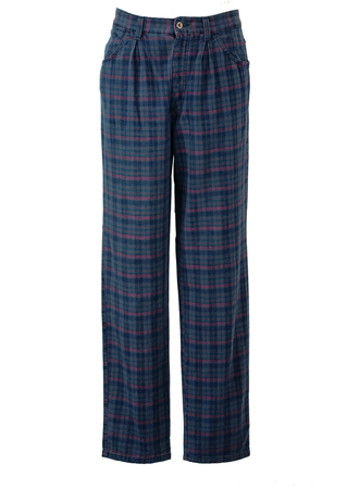 """Pleat Front Trousers with Grey, Purple & Blue Tartan Check - 32"""""""