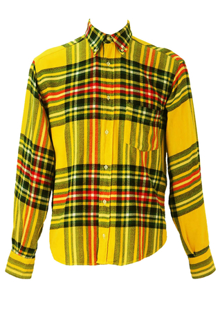 Bright Yellow Tartan Check Flannel Shirt - L