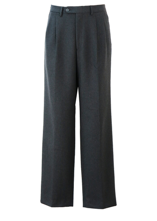 Charcoal Grey, Pleat Front, Tailored Wool Trousers - 33""