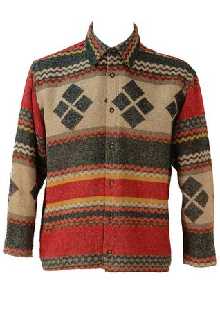 Multi Colour Aztec Print Flannel Shirt - L/XL