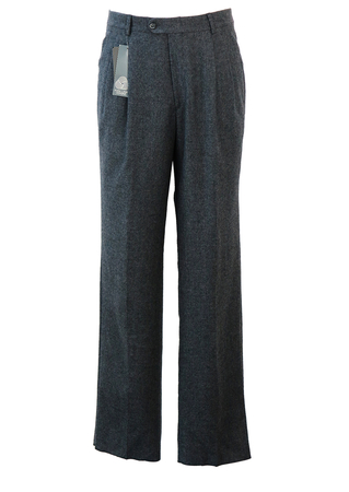Grey Pure New Wool, Pleat Front Tailored Trousers - New - 32""