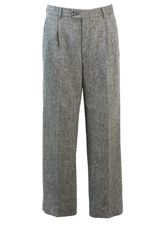 Pleat Front, Wool Tailored Trousers with Light Grey, Black & White Mottled Pattern - 32""