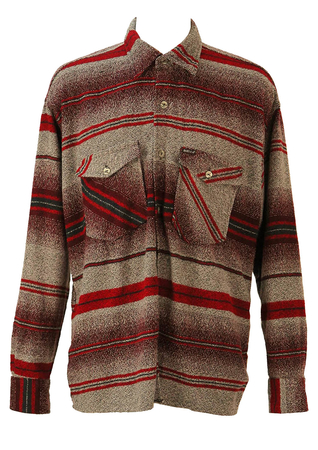 Burgundy, Grey and Black Striped Flannel Shirt - XL/XXL