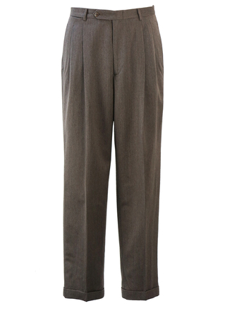 Brown & Cream Mottled Wool, Pleat Front Tailored Trousers with Turn Ups - 33""