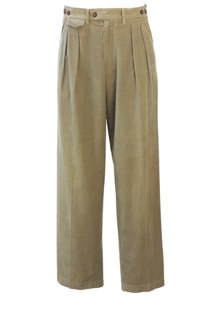 Light Tan Cord Trousers with Pleat Front & Button Waistband Detail - 30""