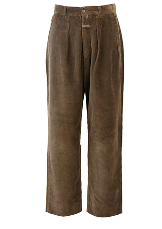 Brown Cord Trousers with Pleat Front Detail - 30""