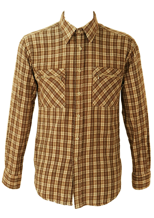 Beige, Brown and Cream Check Flannel Shirt - M/L