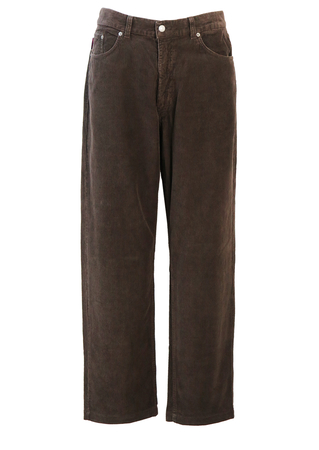 Kappa Brown Needle Cord Trousers - 35""