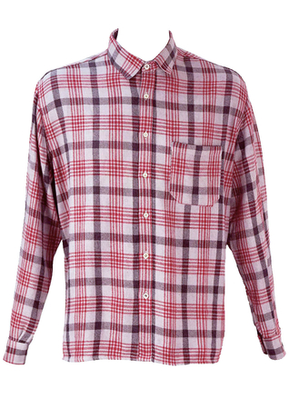 Red and Grey Prince of Wales Check Flannel Shirt - XL/XXL