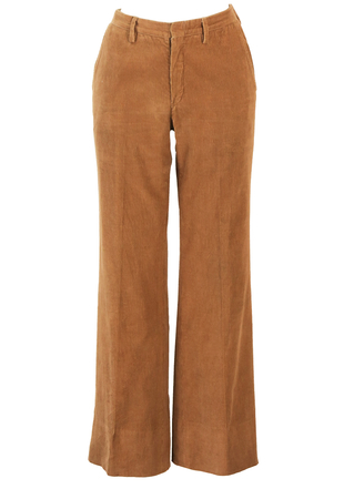 Vintage 70's Flared Camel Coloured Corduroy Trousers - S