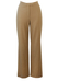 Les Copains Camel Coloured Wide Leg Tailored Trousers with Metallic Gold Pinstripe - S