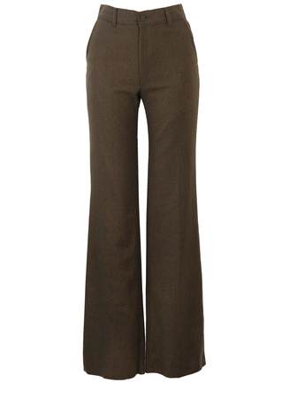 Vintage 70's Brown & Green Tweed Wool Flared Trousers - New - S