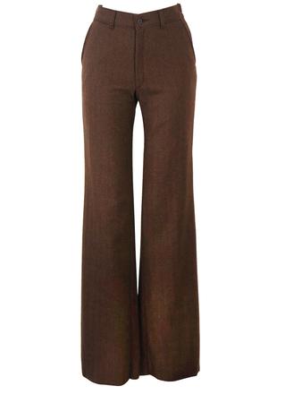 Vintage 70's Brown Herringbone Tweed Flared Wool Trousers - New - S