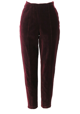 Burgundy Legging Style Tapered Velvet Trousers - S/M