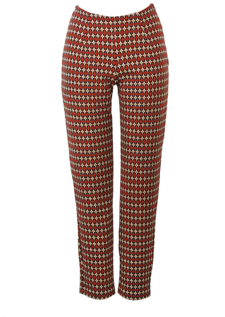 Legging Style Tapered Trousers with Retro 60's Beige, Orange & Brown Pattern - XS/S