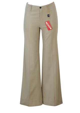 Vintage 70's Light Beige Corduroy Flared Trousers - New - S
