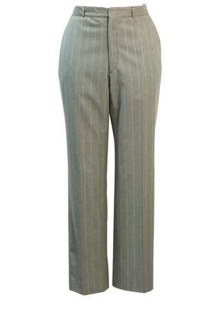 Pistachio Green & White Chalk Stripe Wool Tailored Trousers - S