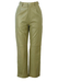Beige / Soft Khaki Green Leather Trousers - S