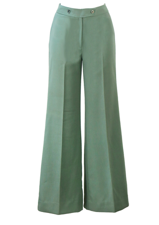 Vintage 70's Flared Green Trousers - S