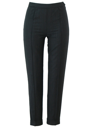 Slim Fit Charcoal Grey Pinstripe Trousers with Turn ups - XS/S