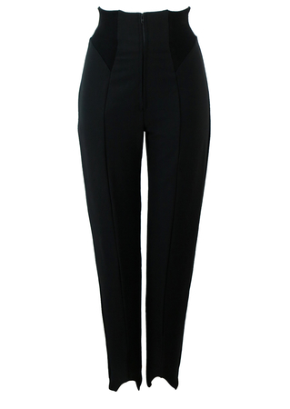 Vintage 90's Black Stirrup Leggings with Ribbed High Waist Detail - XS/S