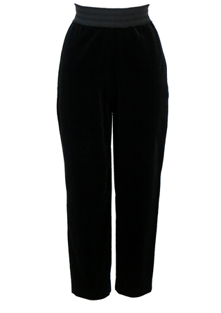 Black High Waist Velvet Trousers with Decorative Waistband - S/M