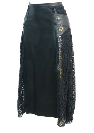 Black Leather and Lace Midi Skirt with Military Badge Detail - S/M