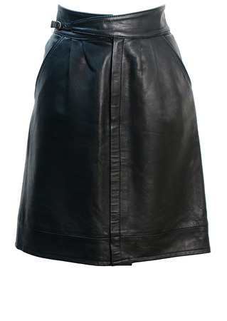 Black Leather Above the Knee Skirt with Cross Over Belt Detail - M