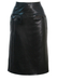 Black Leather Midi Pencil Skirt with Faux Snakeskin Pocket Trim - M