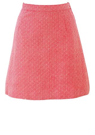 Vintage 60's Red & White Geometric Pattern Mini Skirt - XS