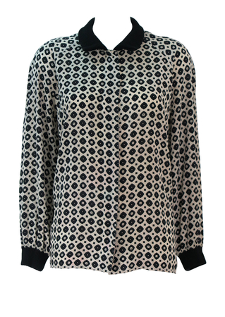 Cream & Black Patterned Blouse with Ribbed Wool Collar & Cuff Detail - M/L