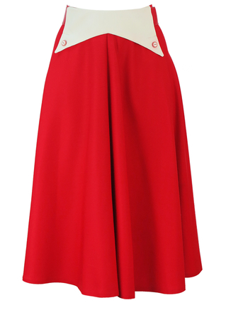 Vintage 70's Red Flared Midi Skirt with Cream Waistband Detail - S