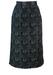 Black Midi Pencil Skirt with Flock Swirl Pattern - S/M