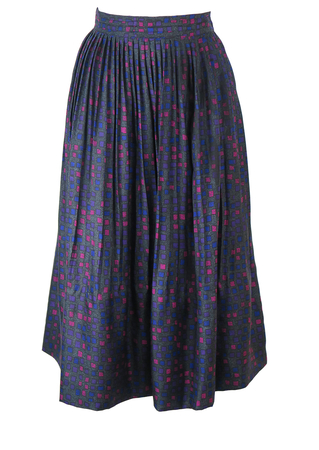 Silk Flared Midi Pleat Skirt with 50's Style Pink, Purple & Blue Square Pattern - S/M