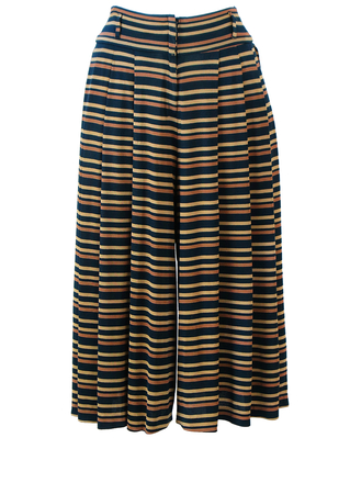 Black Midi Culottes with Camel & Brown Striped Pattern - S