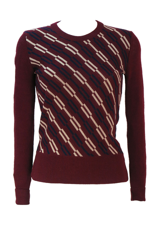 Vintage 60's Burgundy Round Neck Jumper with Cream & Navy Geometric Pattern - XS/S
